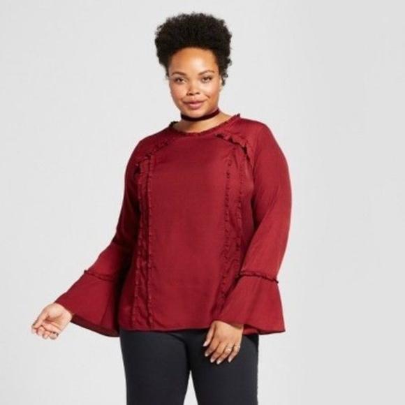 b04aebf99b4 Ava   Viv Women s Plus Size Ruffle Trim Blouse Boutique